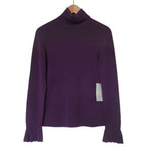 Adrienne Vittadini 100% Wool Ruffle Turtleneck